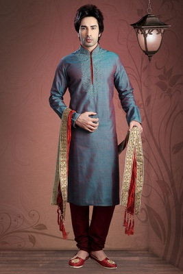 Blue Embroidered Art Dupion Silk Mens Kurta Pajama