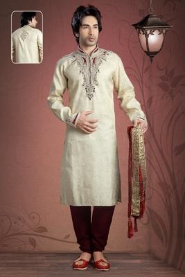 Cream Embroidered Jacquard Mens Kurta Pajama