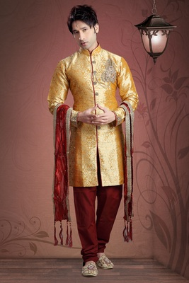 Mustard Embroidered Art Silk Mens Kurta Pajama