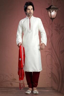 Off White Embroidered Art Dupion Silk Mens Kurta Pajama