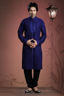 Royal Blue Embroidered Art Dupion Silk Mens Kurta Pajama