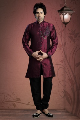 Dark Marron Embroidered Jacquard Mens Kurta Pajama