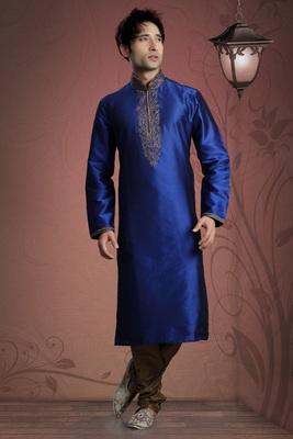 Royal Blue Embroidered Tuffeta Mens Kurta Pajama