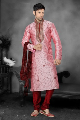 Pink Embroidered Art Dupion Silk Mens Kurta Pajama