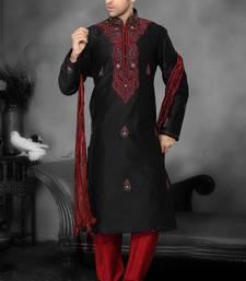 Black Embroidered Art Dupion Silk Mens Kurta Pajama
