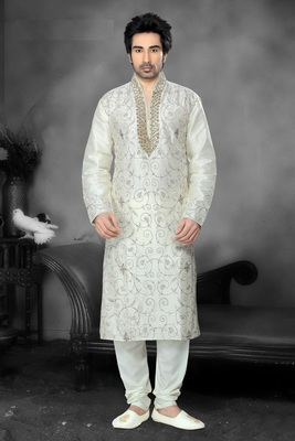 Lemon Embroidered Art Dupion Silk Mens Kurta Pajama