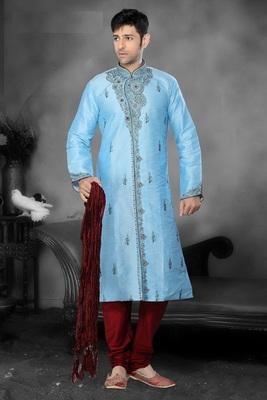 Sky Blue  Embroidered Art Dupion Silk Mens Kurta Pajama