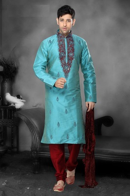 Sea Green Embroidered Art Dupion Silk Mens Kurta Pajama