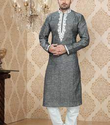 Grey Embroidered Linen Mens Kurta Pajama