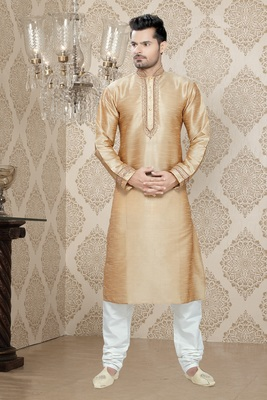 Dark Gold Embroidered Art Silk Mens Kurta Pajama