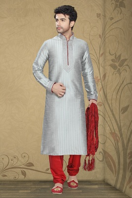 Grey Embroidered Art Silk Mens Kurta Pajama