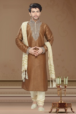 Coffee Brown Embroidered Art Silk Mens Kurta Pajama