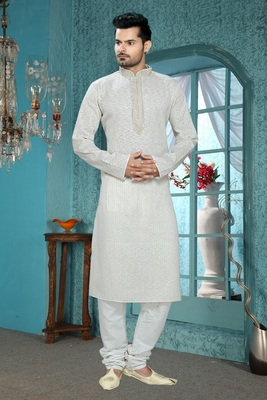 Light Grey Embroidered Synthetic Mens Kurta Pajama