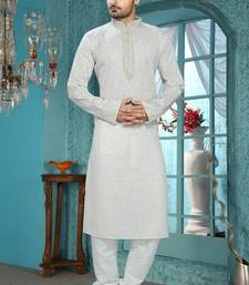 Light Grey Embroidered Synthetic Mens Kurta Pajama
