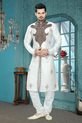 Off White Embroidered Art Silk Mens Kurta Pajama