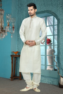 Cream Embroidered Art Silk Mens Kurta Pajama
