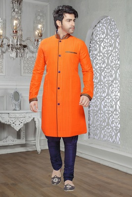 Orange (Mustard) Embroidered Art Silk Mens Kurta Pajama