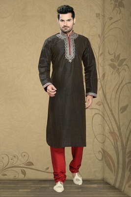Coffee Brown Embroidered Synthetic Mens Kurta Pajama