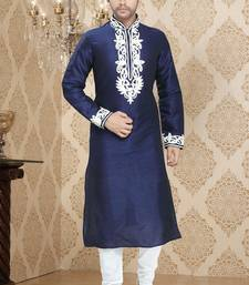 Royal Blue Embroidered Art Silk Mens Kurta Pajama