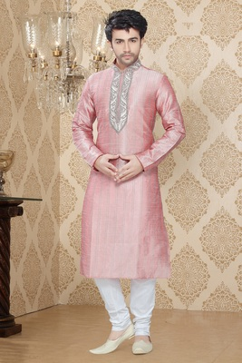Pink Embroidered Art Silk Mens Kurta Pajama