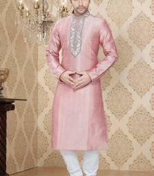 Pink Embroidered Art Silk Mens Kurta Pajama