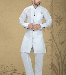 White  Embroidered Poly Cotton Mens Kurta Pajama