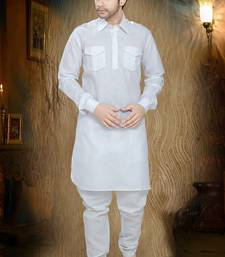 Off White Embroidered Cotton Mens Kurta Pajama