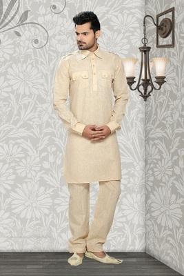 Gold Embroidered Cotton Mens Kurta Pajama