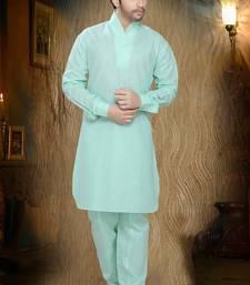 Light Green Embroidered Cotton Mens Kurta Pajama