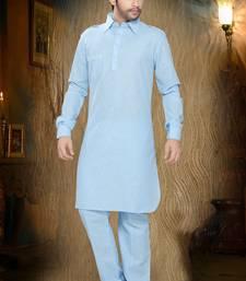 Light Blue Embroidered Cotton Mens Kurta Pajama
