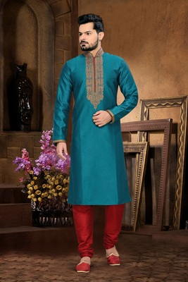 Teal Embroidered Art Silk Mens Kurta Pajama