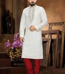Off White Embroidered Cotton Mens Kurta Pajama