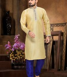 Gold Embroidered Art Silk Mens Kurta Pajama