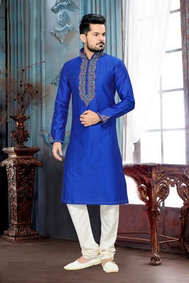 Royal Blue Embroidered Art Silk Mens Kurta Pajama