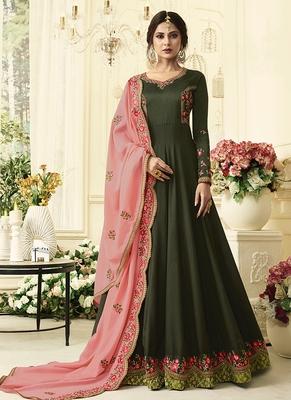 Dark-green embroidered silk salwar with dupatta