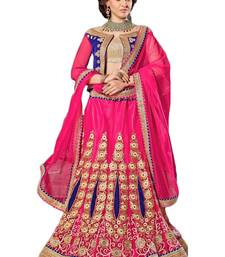 pink embroidered net unstitched lehnga choli