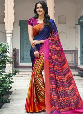 b7ba4b6bbd887 Buy Multicolor printed satin saree with blouse Online