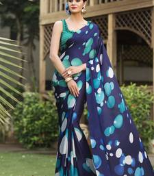 Buy Blue printed satin saree with blouse satin-saree online