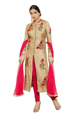 Cream embroidered cotton salwar suit