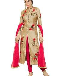 Buy Cream embroidered cotton salwar suit cotton-salwar-kameez online