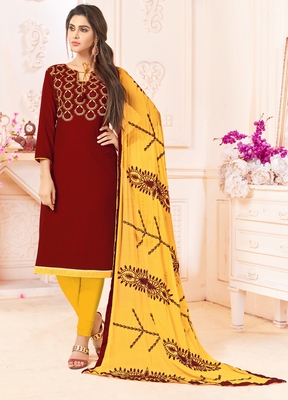 Maroon embroidered cotton salwar with dupatta