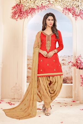 Light-red embroidered cotton salwar with dupatta