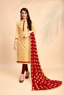 Beige woven banarasi silk salwar with dupatta