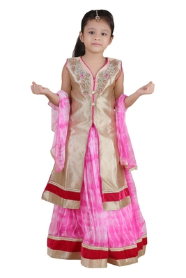 Pink Embroidered Net Kids Lehenga Choli
