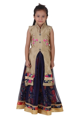 Blue Embroidered Net Kids Lehenga Choli