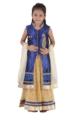 Cream Embroidered Net Kids Lehenga Choli