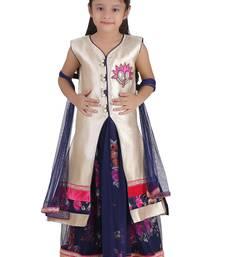 Blue Embroidered Net Kids Lehenga Choli
