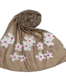 Brown Cotton Designer Flower Ari Diamond Stole Hijab