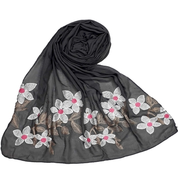 Grey Cotton Designer Flower Ari Diamond stole hijab