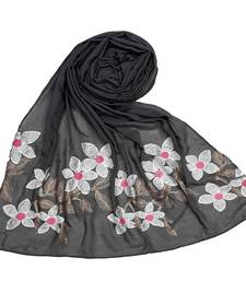 Grey Cotton Designer Flower Ari Diamond Stole Hijab